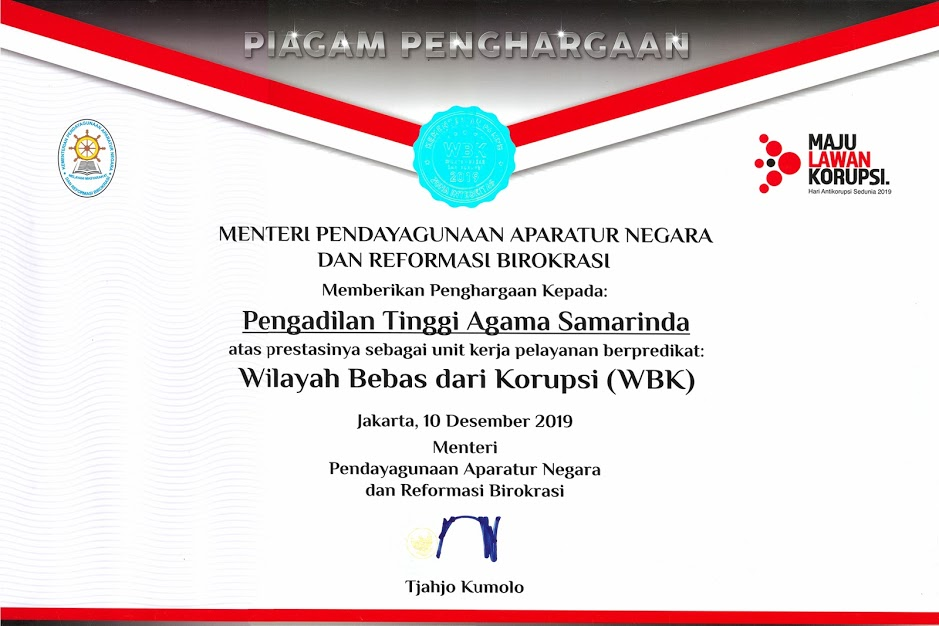 Pengahargaan WBK kepada PTA Kalimantan Timur